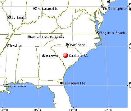 Gaston, South Carolina map