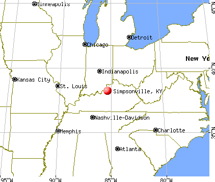 Simpsonville, Kentucky map