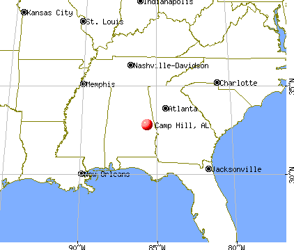 Camp Hill, Alabama map