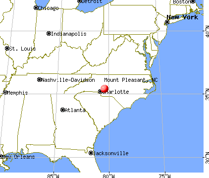 Mount Pleasant, North Carolina map