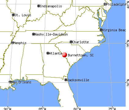Burnettown, South Carolina map