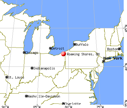 Roaming Shores, Ohio map