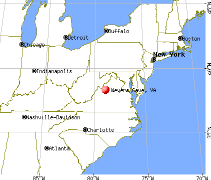 Weyers Cave, Virginia map