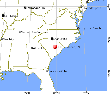 East Sumter, South Carolina map