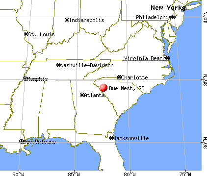 Due West, South Carolina map