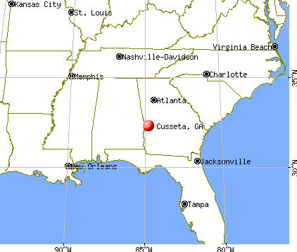 Cusseta, Georgia map