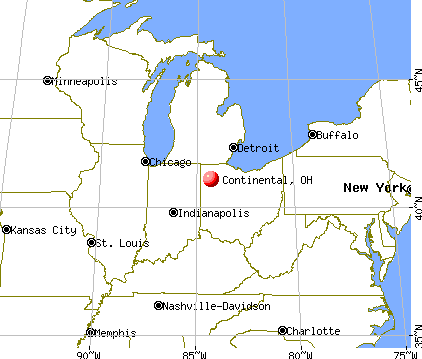 Continental, Ohio map