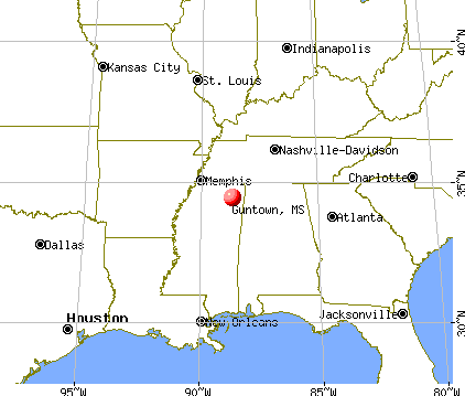 Guntown, Mississippi map