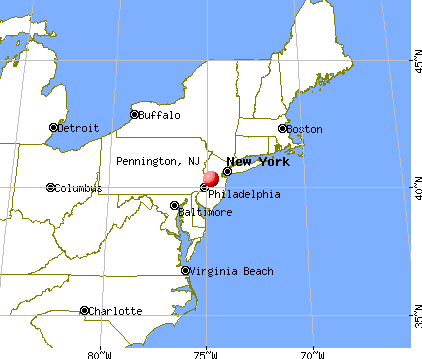 Pennington, New Jersey map