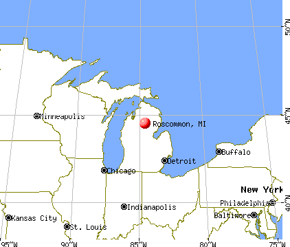 Roscommon, Michigan map