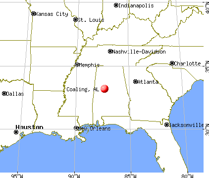 Coaling, Alabama map