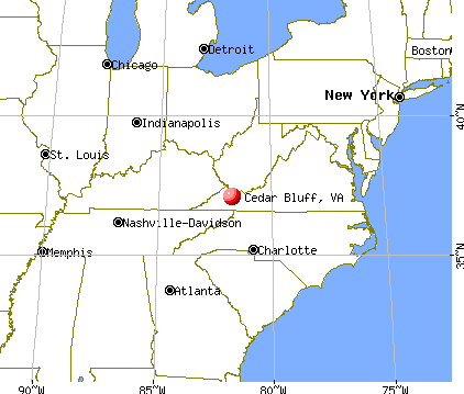 Cedar Bluff, Virginia map