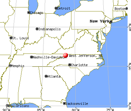 West Jefferson, North Carolina map