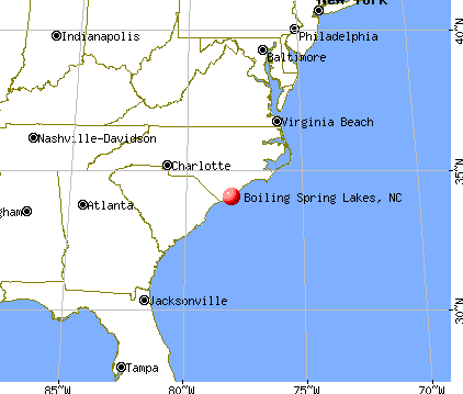 Boiling Spring Lakes, North Carolina map