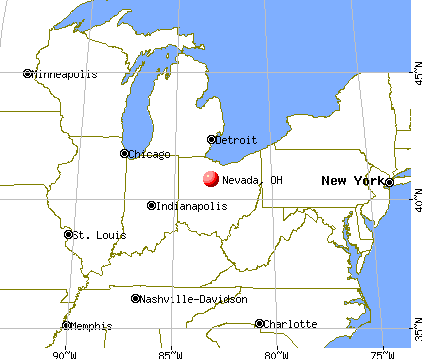 Nevada, Ohio map