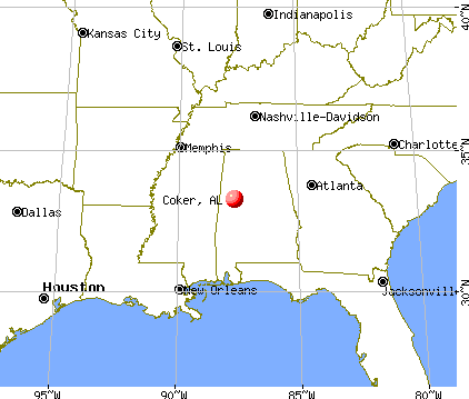 Coker, Alabama map