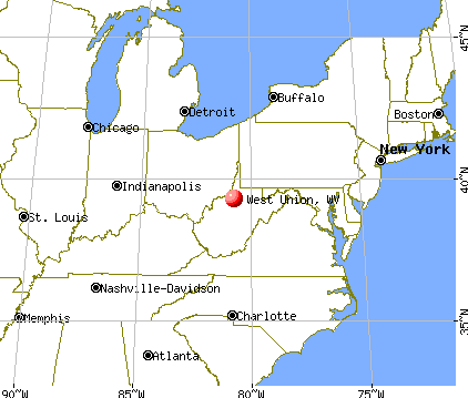 West Union, West Virginia map