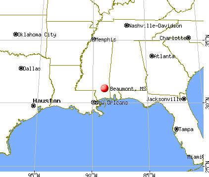 Beaumont, Mississippi map