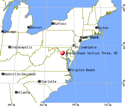 Chevy Chase Section Three, Maryland map