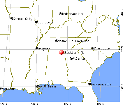 Section, Alabama map