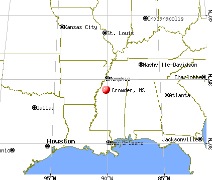 Crowder, Mississippi map