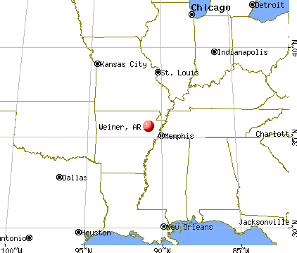 Weiner, Arkansas map
