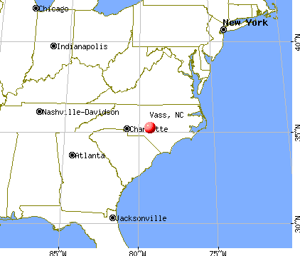 Vass, North Carolina map