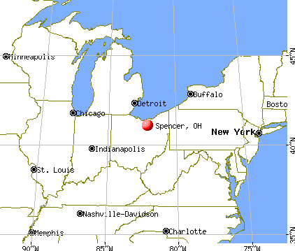 Spencer, Ohio map