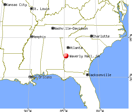 Waverly Hall, Georgia map