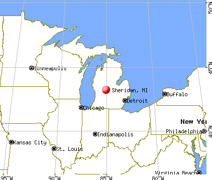 Sheridan, Michigan map