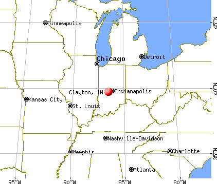 Clayton, Indiana map