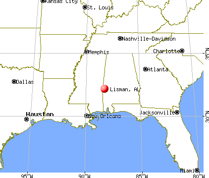 Lisman, Alabama map