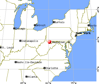 Masontown, West Virginia map
