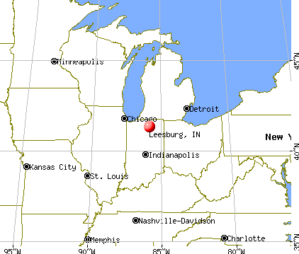 Leesburg, Indiana map