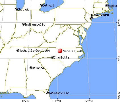 Sedalia, North Carolina map