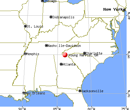 Young Harris, Georgia map