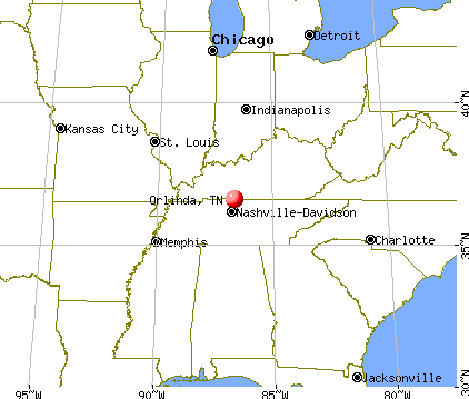 Orlinda, Tennessee map