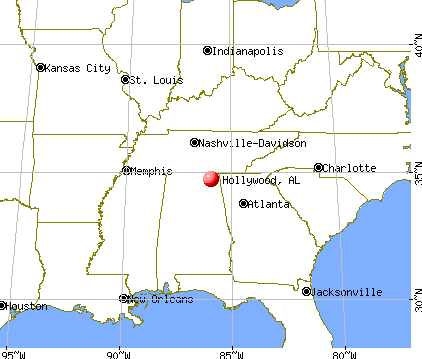 Hollywood, Alabama map
