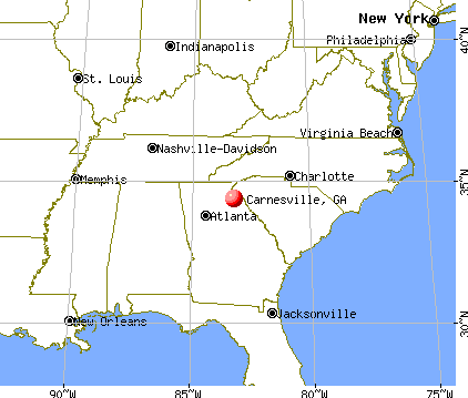Carnesville, Georgia map