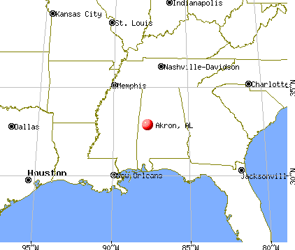 Akron, Alabama map