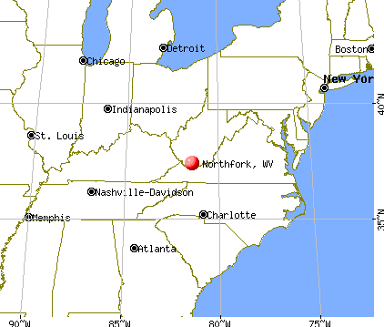 Northfork, West Virginia map