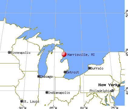 Harrisville, Michigan map