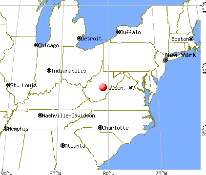 Cowen, West Virginia map
