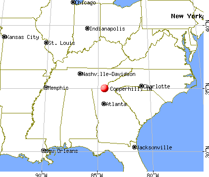 Copperhill, Tennessee map