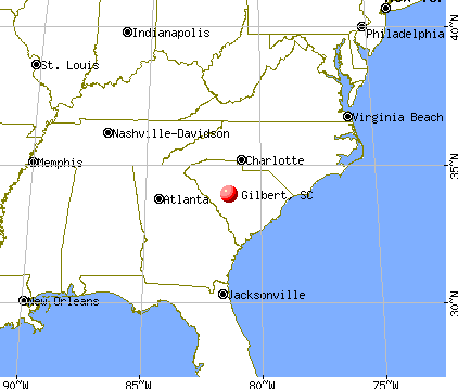 Gilbert, South Carolina map