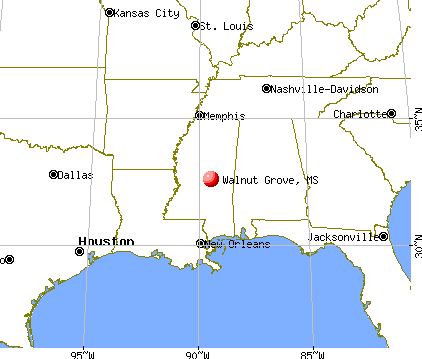 Walnut Grove, Mississippi map