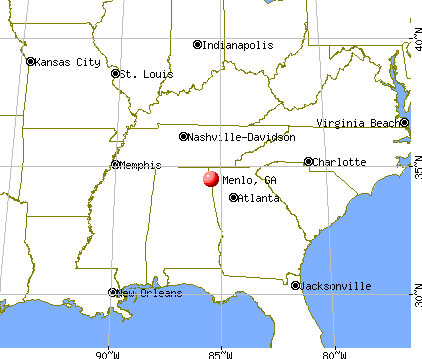 Menlo, Georgia map