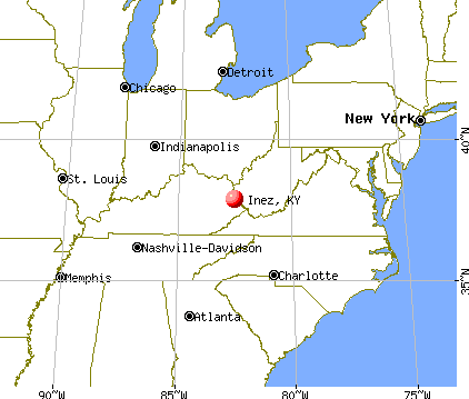Inez, Kentucky map