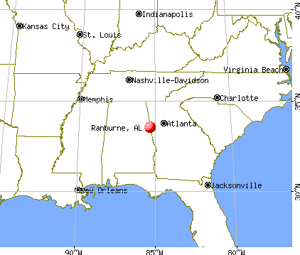 Ranburne, Alabama map
