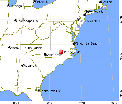 Micro, North Carolina map